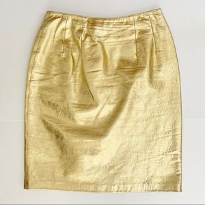 Vintage Gold Leather Pencil Skirt Metallic 80s 90s